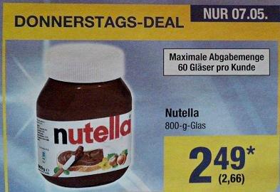 [METRO TagesDeal] Nutella - 800g (3,33€/kg) nur am 07.05.
