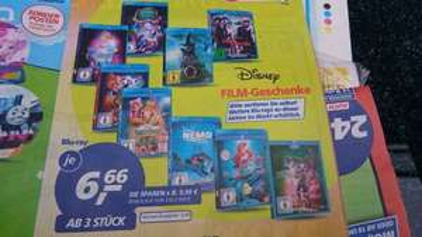 Real Markt Disney Bluray verschiedene Filme 3 Stück nehmen für je 6,66 €