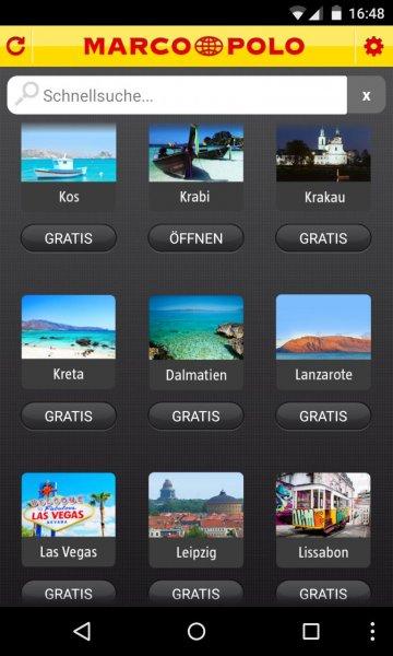 Alle digitalen Marco Polo Reiseführer Gratis in der Android & iOS App