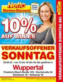 [lokal - Wuppertal] Netto - 10% auf fast alles (Verkaufsoffener Sonntag 13-18 Uhr am 03.05.2015)