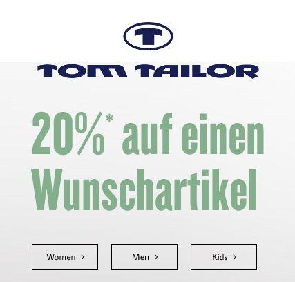 @Tom Tailor - 20% auf einen Wunschartikel + 7% Qipu