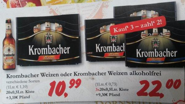 [regional/Dornseifer] Drei Kisten Krombacher Weizen oder Weizen alkoholfrei für 22€