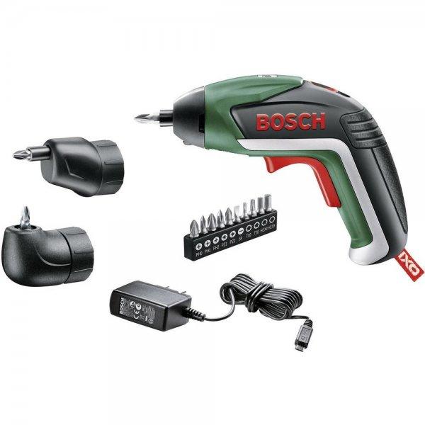 Bosch IXO V Upgrade Set (inkl. Winkel- u. Exzenteraufsatz, 3.6 V / 1.5 Ah Li-Ion-Akku) + Ladegerät + 10 Schrauberbits Versandkostenfrei für 59,99€ @Voelkner