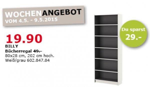 [IKEA Ludwigsburg] BILLY Regal Weiß/Grau für 19,90€ statt 49,- (80x28x202cm)