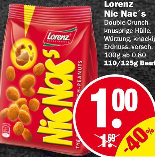 Nic Nac's von Lorenz 40% billiger, zum Bestpreis! Ab Donnerstag 7.5.[NP Discount]
