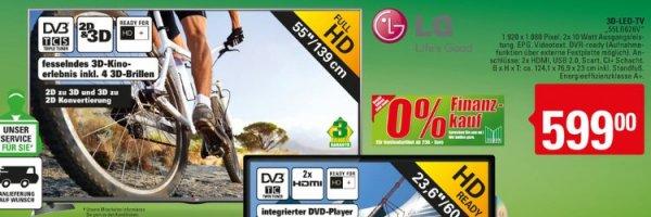[Lokal Marktkauf Vlotho/Herford evtl noch andere Märkte] LG Electronics LED-Fernseher 139 cm 55 Zoll 55LB626V EEK A+ DVB-T, DVB-C, DVB-S, Full HD, 3D, PVR re , EEK: A+ für 599,-€