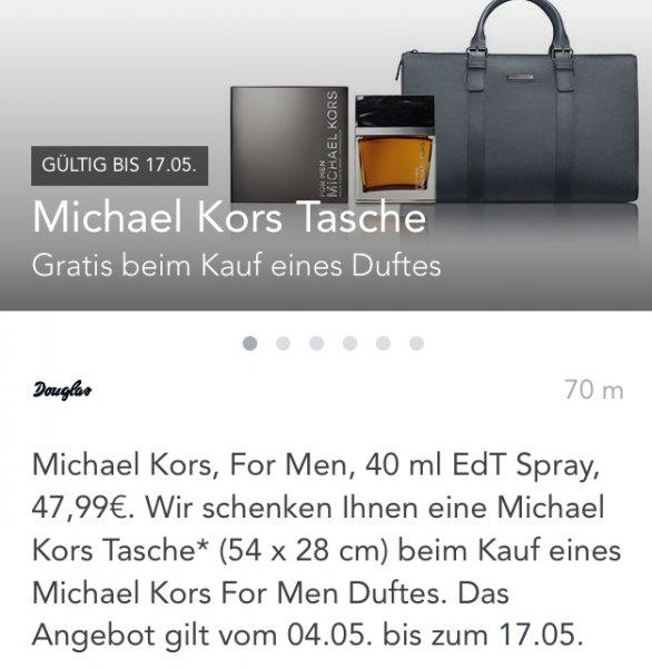 Michael Kors tasche gratis beim Kauf eines men Parfums bei Douglas