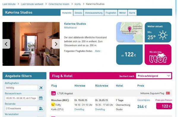 L'TUR: 7 Tage Korfu Übernachtung im Studio, Flug & Zug zum Flug 122€/Person (München über Pfingsten)