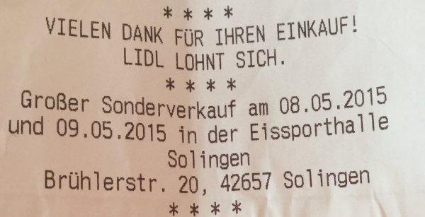 [Lokal Solingen] Großer Lidl Sonderverkauf am 08/09.05.2015!!