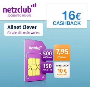 [QIPU] Netzclub: 10€ Amazon Gutschein+16€ Cashback für Deinen Allnet Clever für 7,95€ monatlich