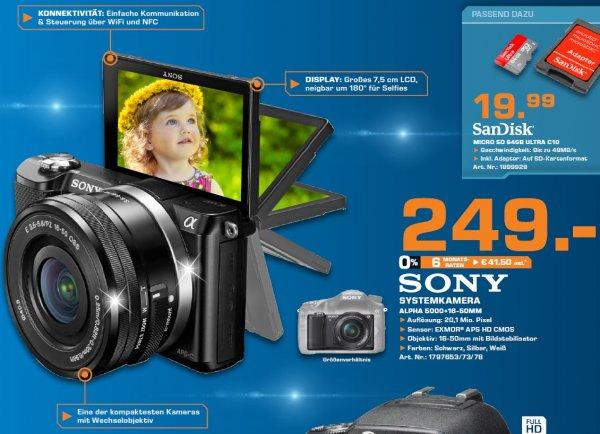 [lokal Köln] Saturn: Sony Alpha 5000 inkl. Kit Objektiv 16-50mm für € 249,-