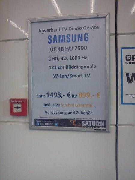 [Lokal] Saturn Berlin Alexanderplatz Demogeräte Samsung UE48HU7590 UHD TV inkl. 5 Jahre Garantie (ab 15.05.2015)