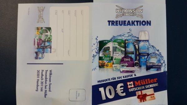 Wilkinson Treueaktion -  Für 50 Euro bei Müller Wilkinson Produkte kaufen und 10 EURO Müller Gutschein erhalten.
