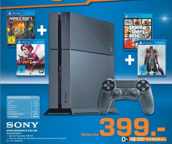 [Lokal Saturn Kerpen] Playstation4 Konsole, + GTA5 + inFAMOUS: First Light  + Minecraft + Bloodborne für 399,-€
