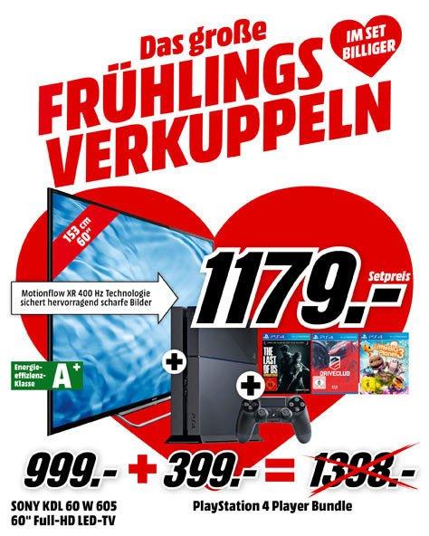 "[Bundle] SONY KDL-60W605B 60"" Full HD-TV + PlayStation 4, 500GB, inkl. der Spiele ""DriveClub"" + ""The Last of Us"" + LittleBigPlanet 3, komplett für 1.193,99 €, @MediaMarkt"