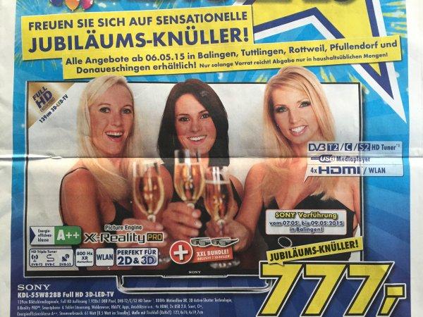 Sony KDL-55W828B 139 cm (55 Zoll) 3D Full HD LCD-TV - nur 777€ Guter Preis (27% günstiger als Idealo-Preis) Jubiläumsangebot Euronics lokal Raum Tuttlingen