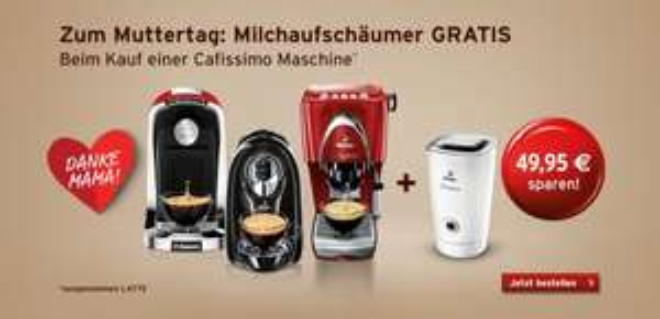 Tchibo GRATIS Milchaufschäumer bei kauf von Cafissimo Compact Black und andere Maschinen