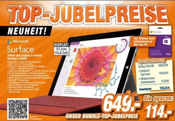 [Offline Expert-Technikmarkt Gruppe] Das Neue Microsoft Surface 3, 64GB inkl. Type Cover 3 (Verkaufsstart heute 07.05.) und 15€ Windows Store Guthaben für 649,-€