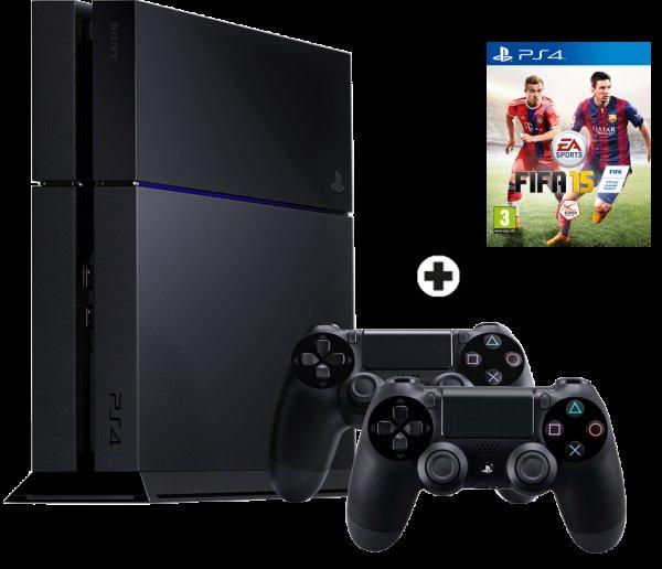 Schweiz: Mediamarkt PlayStation 4 Bundle 500GB schwarz inkl. FIFA15 + 2 Controller 379CHF