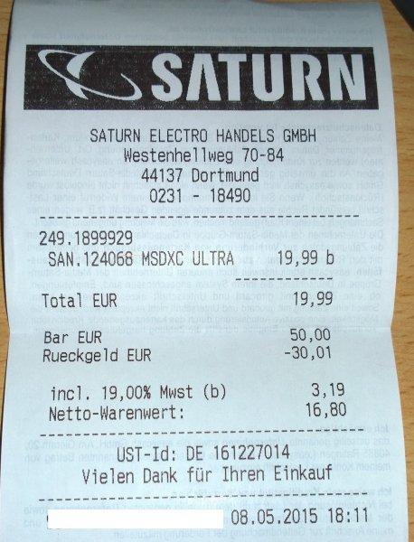 [LOKAL - OFFLINE] Saturn - Dortmund SanDisk Ultra 64GB (microSD mit Adapter) für 19,99€