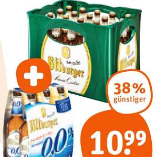 38% Preisvorteil Kasten Bitburger Pils + gratis 6er-Pack alkoholfreies Bier dazu! [tegut]