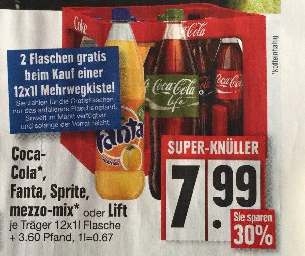 Coca-Cola, Fanta, Sprite etc. 12 + 2 Flaschen (jeweils 1L Flaschen) 7,99€ bei Edeka (KW20), 0,57€/l
