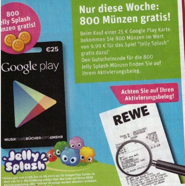 REWE 25 Euro Google Play kaufen + 800 Jelly Splash Münzen Gratis (Wert 9,99 Euro)