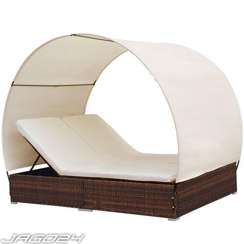 Jago Doppel-Sonnenliege Liege mit Dach Lounge Polyrattan weiß braun, 191,95 EUR @ eBay