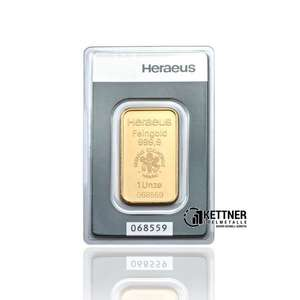 31,1g Gramm 1 Unze Goldbarren Heraeus 999,9 Feingold Barren für 1126,99€