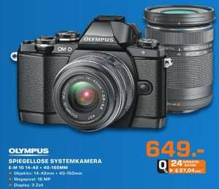 Update: +100€ Prämie [lokal Bochum] Saturn - Olympus OM-D E-M10 Kit 14-42 mm + 40-150 mm