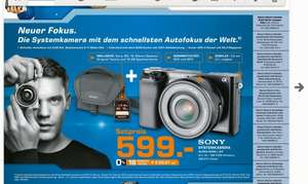Saturn! Sony Alpha 6000 + Sony SEL-P1650 E-Objektiv + original Sony Tasche + Original 16GB Sony Tasche