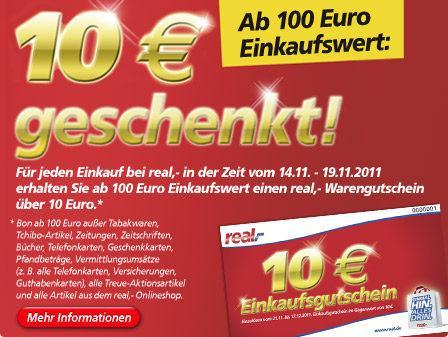 [OFFLINE] 10 € Real Gutschein für einen Einkauf von 100 €