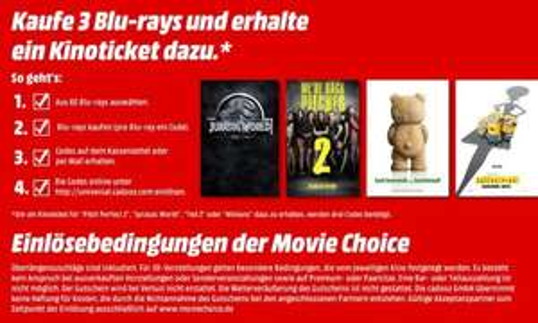 Ein mega Blockbuster Deal: 3 Blu-rays = Kinoticket gratis