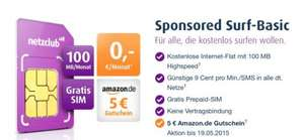 NetzClub Simkarte + 5 Euro Amazon Gutschein Gratis!