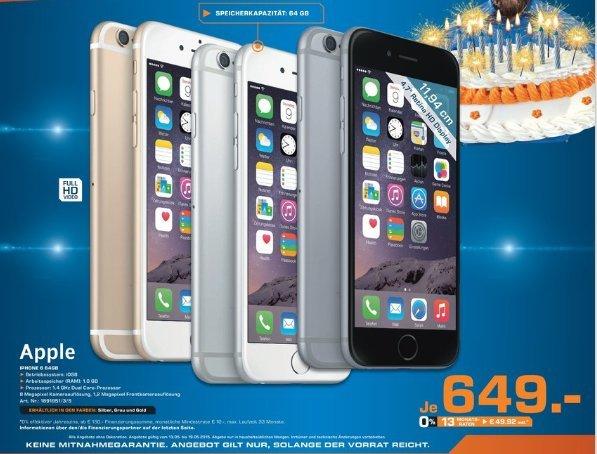 [Lokal Saturn Leverkusen] Apple iPhone 6 - 64GB - Alle Farben - (Ohne SIM-Lock) für 649,-€