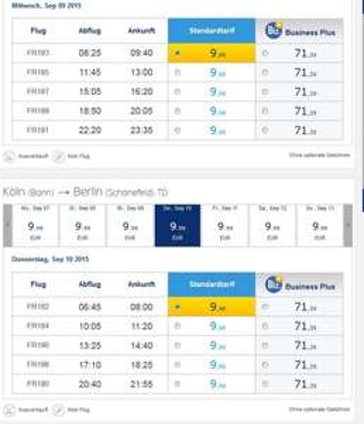 Ryanair Flüge von Köln/Bonn nach Berlin-Schönefeld ab 9,99€ ( Hin und Rückflug ab ~20€ )