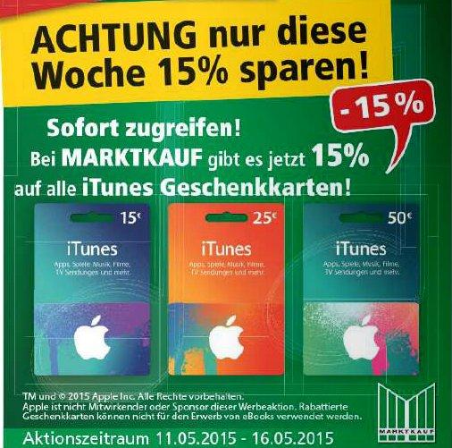[Marktkauf Nordbayern, evtl. bundesweit?] 15% auf alle Itunes-Guthabenkarten