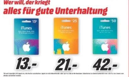 [Lokal Rhein-Main ggf. Bundesweit?] iTunes Karten im Angebot @MediaMarkt