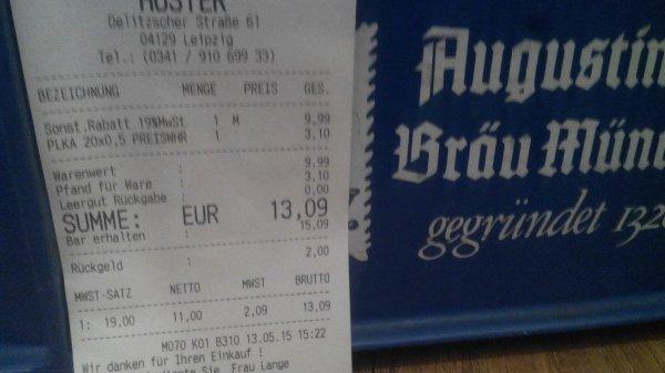 Huster - Leipzig Kiste Augustiner Edelstoff für 9,99 + Pfand