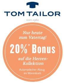 @Tom Tailor - 20% auf die Herrenkollektion + 7% Qipu