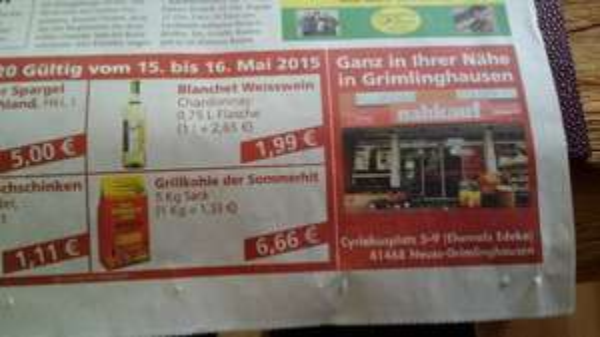 Lokal Neuss Grimlinghausen Nahkauf - Profagus Grillkohle