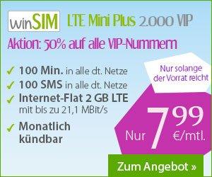 [WinSIM] 2 GB LTE  + 100 Minuten + 100 SMS für 7,99€ - monatlich kündbar