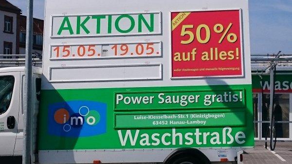 50% Rabatt auf alle Wäschen bei imo Waschstrasse am Kinzigbogen Hanau