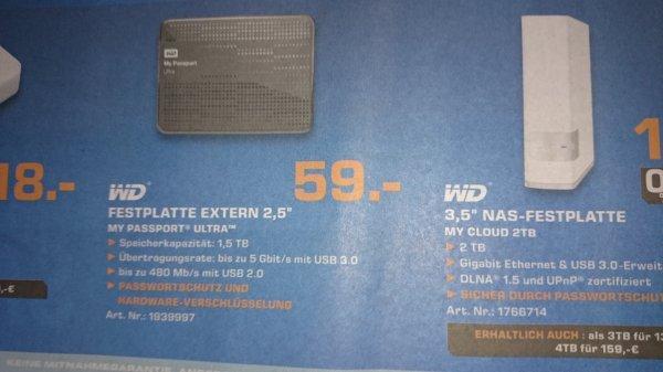 [Lokal Münster Saturn] WD My Passport Ultra 1,5 TB externe Festplatte (2,5 Zoll) für 59 Euro