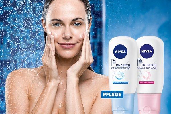 NIVEA - neue Proben-  In-Dusch Waschcreme & Make-up Entferner und NIVEA In-Dusch Gesichtspflege