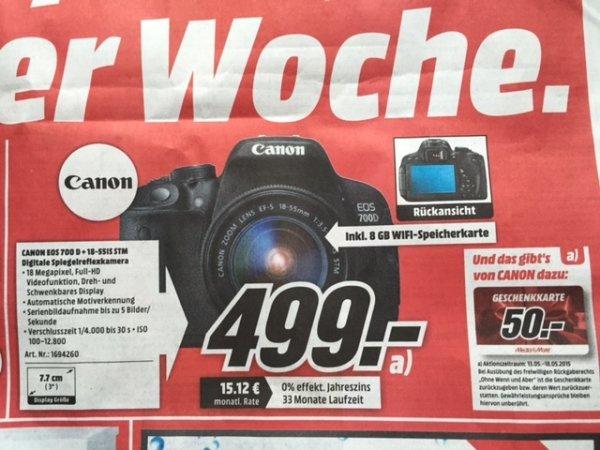 [lokal]  MM Düsseldorf - Canon EOS 700D + 18-55IS STM inkl. WIFI-Karte, 50€ Gutschein, Cashback möglich