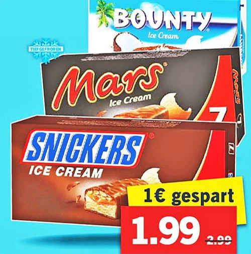 Snickers, Mars, Bounty Ice Cream Riegel (7er Pack) für nur 1,99€ bei [ Lidl ]