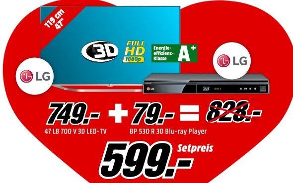 """[Mediamarkt]  Verkupplungsaktion, die Zweite... LG 47LB700V TV (47"""", 3D, WLAN, 800Hz) + LG BP530R 3D-Blu-Ray-Player für 598,99€ versandkostenfrei"""