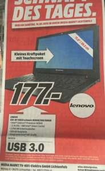 "[Lokal MM Lichtenfels] Lenovo S20-30 Touch (11,6"", N2840, 2GB Ram, 500GB HDD) - 177,-"