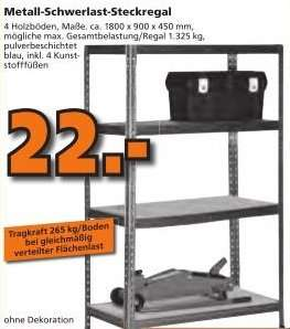 [Globus Baumarkt] Metall-Schwerlast-Steckregal, Gesamtbelastung  1.325 Kg       22,00 Euro